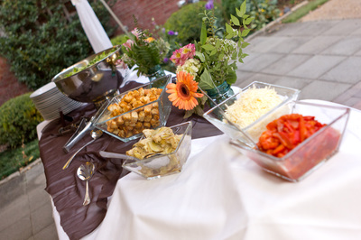 Various salad toppings for a salad bar at a catered event
